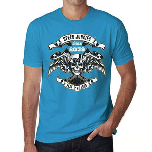 Speed Junkies Since 2039 Mens T-Shirt Blue Birthday Gift 00464 - Blue / Xs - Casual