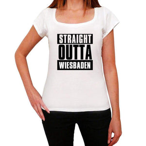 Straight Outta Wiesbaden Womens Short Sleeve Round Neck T-Shirt 00026 - White / Xs - Casual