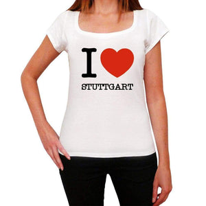 Stuttgart I Love Citys White Womens Short Sleeve Round Neck T-Shirt 00012 - White / Xs - Casual