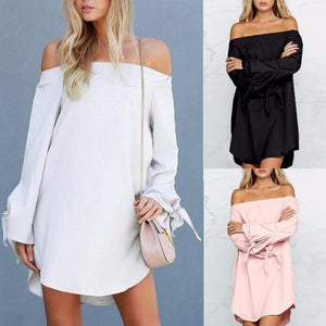 Summer Women Sexy Off-Shoulder Long Sleeve Casual Loose Mini Dress