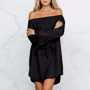 Summer Women Sexy Off-Shoulder Long Sleeve Casual Loose Mini Dress - Black / L
