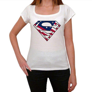 Superman Usa Womens Short Sleeve Round Neck T-Shirt 00111