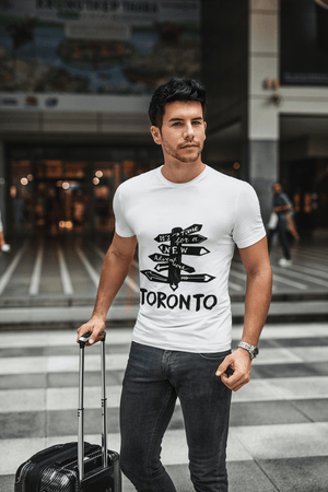 Men's Vintage Tee Shirt <span>Graphic</span> T shirt Time For New Advantures Toronto <span>White</span> Round Neck