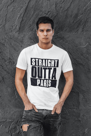 Straight Outta Paris, <span>Men's</span> <span><span>Short Sleeve</span></span> <span>Round Neck</span> T-shirt 00027