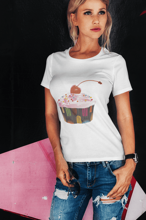 Cupcake Cherry Bomb Pearls, <span>Women's</span> <span><span>Short Sleeve</span></span> Crew neck Tee 00152