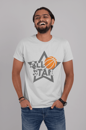 • Men's <span>Graphic</span> T-Shirt All Star Basketball Vintage <span>White</span> Round Neck Round Neck