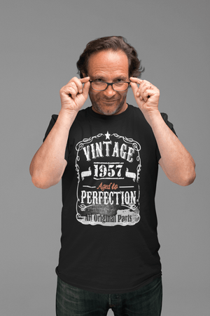 1957 Vintage Aged to Perfection <span>Men's</span> T-shirt <span>Black</span> <span>Birthday</span> <span>Gift</span> 00144 00490