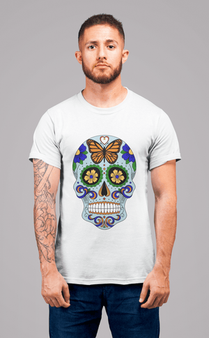 Day of the dead skull blue, <span>Men's</span> <span>White</span> tee, 100% Cotton 00187