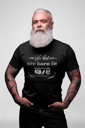 The Best are Born in 1970 <span>Men's</span> T-shirt <span>Black</span> <span>Birthday</span> <span>Gift</span> Round Neck 00397