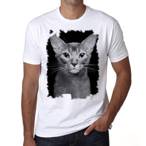 The Abyssinian Cat Tshirt Mens Tee White 100% Cotton 00186
