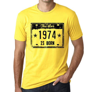 The Star 1974 Is Born Mens T-Shirt Yellow Birthday Gift 00456 - Yellow / Xs - Casual