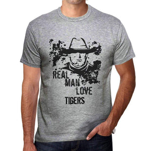 Tigers Real Men Love Tigers Mens T Shirt Grey Birthday Gift 00540 - Grey / S - Casual