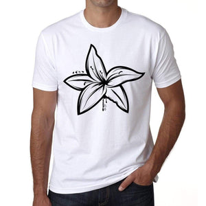 Tribal Lily Tattoo Mens White Tee 100% Cotton 00162