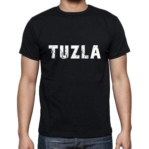 Tuzla Mens Short Sleeve Round Neck T-Shirt 5 Letters Black Word 00006 - Casual