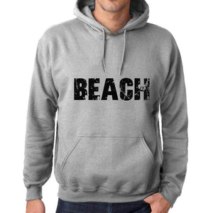 Unisex Printed Graphic Cotton Hoodie Popular Words Beach Grey Marl - Grey Marl / Xs / Cotton - Hoodies