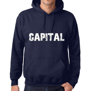 Unisex Printed Graphic Cotton Hoodie Popular Words Capital French Navy - French Navy / Xs / Cotton - Hoodies