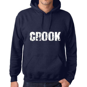 Unisex Printed Graphic Cotton Hoodie Popular Words Crook French Navy - French Navy / Xs / Cotton - Hoodies