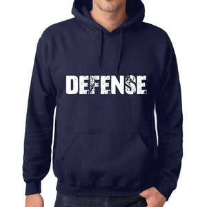 Unisex Printed Graphic Cotton Hoodie Popular Words Defense French Navy - French Navy / Xs / Cotton - Hoodies