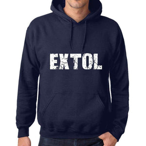 Unisex Printed Graphic Cotton Hoodie Popular Words Extol French Navy - French Navy / Xs / Cotton - Hoodies