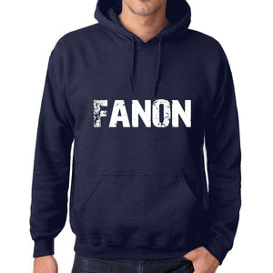 Unisex Printed Graphic Cotton Hoodie Popular Words Fanon French Navy - French Navy / Xs / Cotton - Hoodies