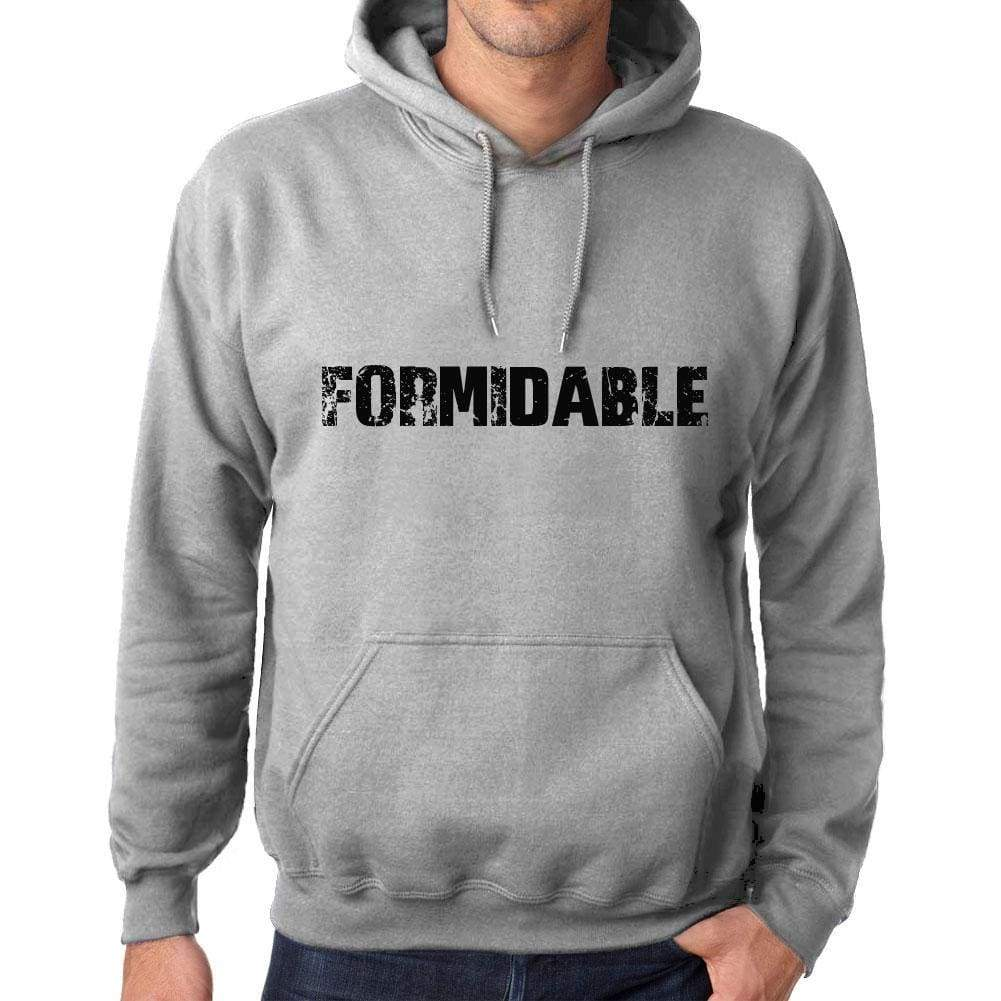 Unisex Printed Graphic Cotton Hoodie Popular Words Formidable Grey Marl - Grey Marl / Xs / Cotton - Hoodies