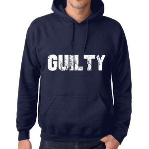 Unisex Printed Graphic Cotton Hoodie Popular Words Guilty French Navy - French Navy / Xs / Cotton - Hoodies