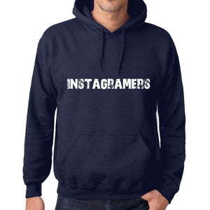 Unisex Printed Graphic Cotton Hoodie Popular Words Instagramers French Navy - French Navy / Xs / Cotton - Hoodies