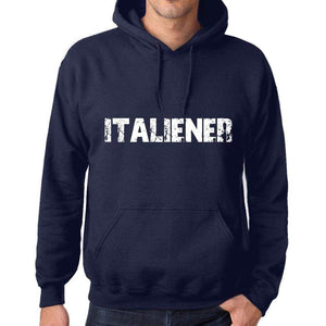 Unisex Printed Graphic Cotton Hoodie Popular Words Italiener French Navy - French Navy / Xs / Cotton - Hoodies