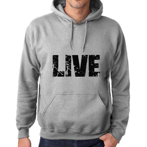 Unisex Printed Graphic Cotton Hoodie Popular Words Live Grey Marl - Grey Marl / Xs / Cotton - Hoodies