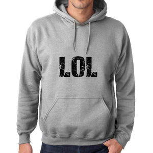 Unisex Printed Graphic Cotton Hoodie Popular Words Lol Grey Marl - Grey Marl / Xs / Cotton - Hoodies