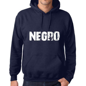 Unisex Printed Graphic Cotton Hoodie Popular Words Negro French Navy - French Navy / Xs / Cotton - Hoodies