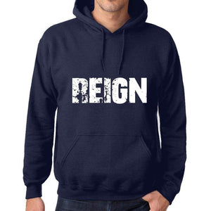 Unisex Printed Graphic Cotton Hoodie Popular Words Reign French Navy - French Navy / Xs / Cotton - Hoodies
