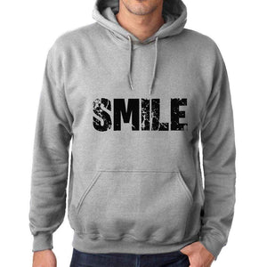 Unisex Printed Graphic Cotton Hoodie Popular Words Smile Grey Marl - Grey Marl / Xs / Cotton - Hoodies