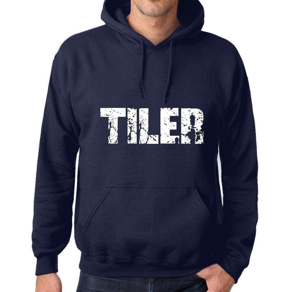 Unisex Printed Graphic Cotton Hoodie Popular Words Tiler French Navy - French Navy / Xs / Cotton - Hoodies