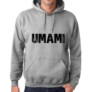 Unisex Printed Graphic Cotton Hoodie Popular Words Umami Grey Marl - Grey Marl / Xs / Cotton - Hoodies