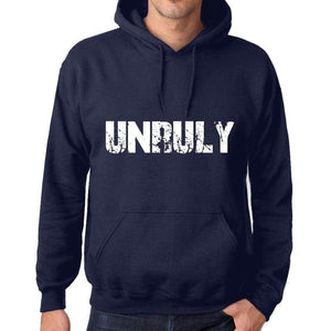 Unisex Printed Graphic Cotton Hoodie Popular Words Unruly French Navy - French Navy / Xs / Cotton - Hoodies