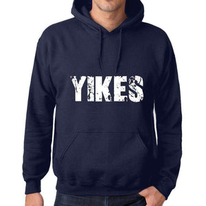 Unisex Printed Graphic Cotton Hoodie Popular Words Yikes French Navy - French Navy / Xs / Cotton - Hoodies