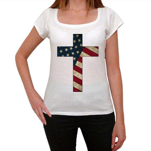 Usa Cross Twomens Short Sleeve Round Neck T-Shirt 00111