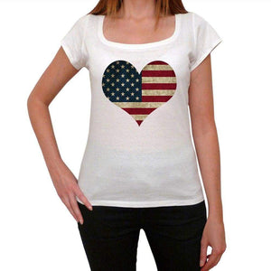 Usa Heart Womens Short Sleeve Round Neck T-Shirt 00111