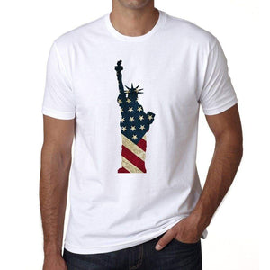 Usa Statue Of Liberty Mens Short Sleeve Round Neck T-Shirt