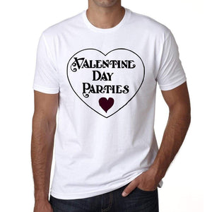Valentine Day Parties Mens Tee White 100% Cotton 00156