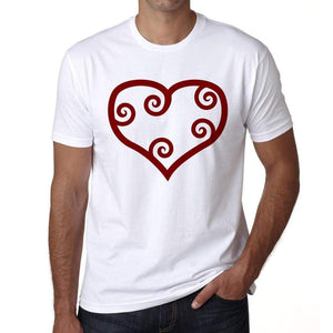 Valentine Red Maori Heart Mens Tee White 100% Cotton 00156