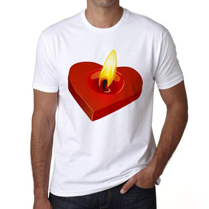 Valentines Candle Mens Tee White 100% Cotton 00156