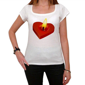 Valentines Candle Tshirt White Womens T-Shirt 00157