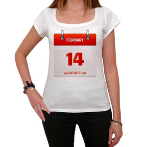 Valentines Day Calendar Tshirt White Womens T-Shirt 00157