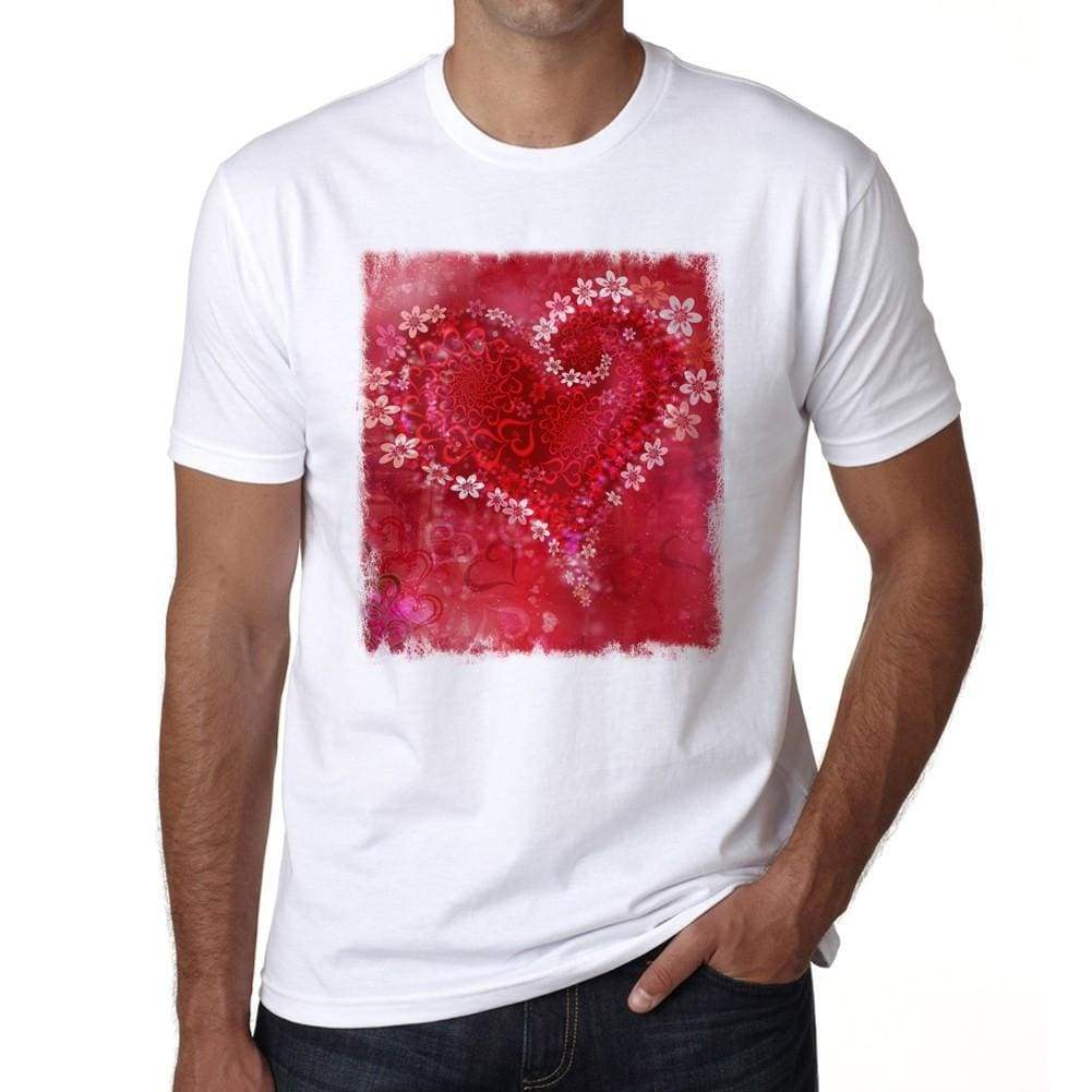 Valentines Day Flowers Mens Tee White 100% Cotton 00156