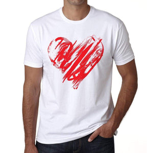 Valentines Day Heart Mens Tee White 100% Cotton 00156