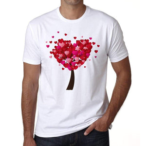 Valentines Day Heart Tree Mens Tee White 100% Cotton 00156