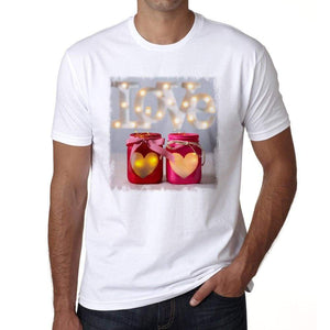 Valentines Day Lanterns Mens Tee White 100% Cotton 00156
