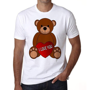 Valentines Day Teddy Bear Mens Tee White 100% Cotton 00156